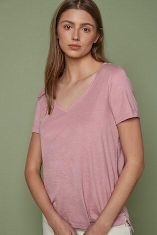 Pink Metallic V-Neck Half Sleeve T-Shirt