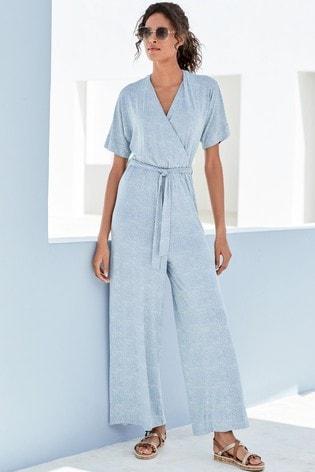 Blue Geo Print Kimono Sleeve Jumpsuit