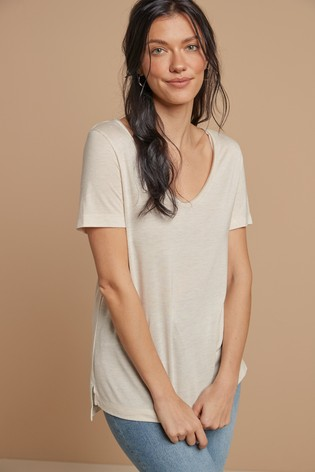 Oatmeal Metallic V-Neck Half Sleeve T-Shirt