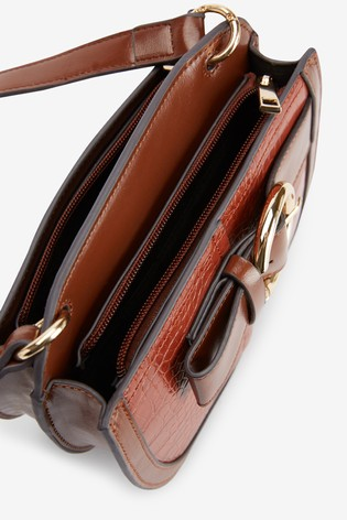 Tan Buckle Detail Saddle Bag