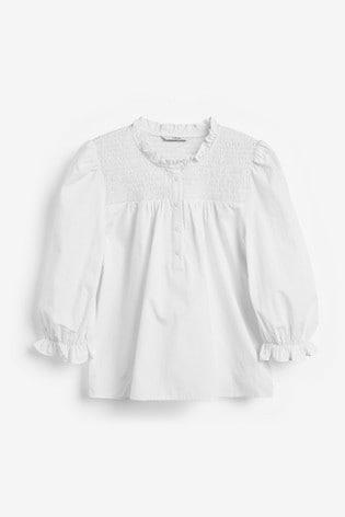 White Puff Sleeve Smock Cotton Poplin Top