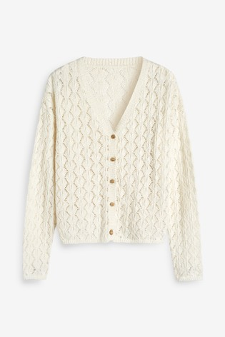 White Stitch Detail Button Cardigan