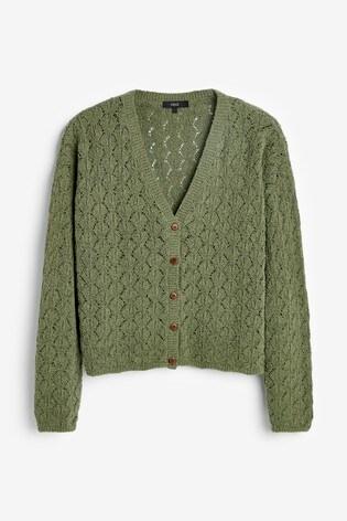 Khaki Stitch Detail Button Cardigan