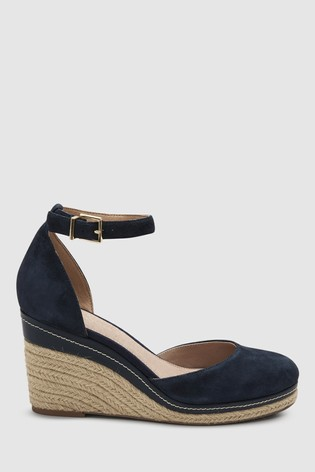 Buy Navy Forever Comfort 174 Leather Closed Toe Wedges From