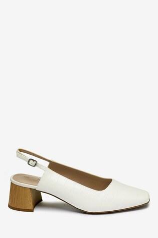 5ccbf2eeca Buy White Block Heel Slingbacks from Next Ireland