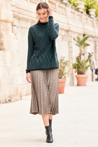 2562aa4ef6 Buy Brown Check Pleated Skirt from Next Hong Kong