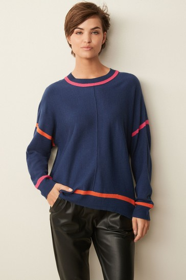 Navy Blue Tipped Sleeve Long Cosy Tunic Jumper