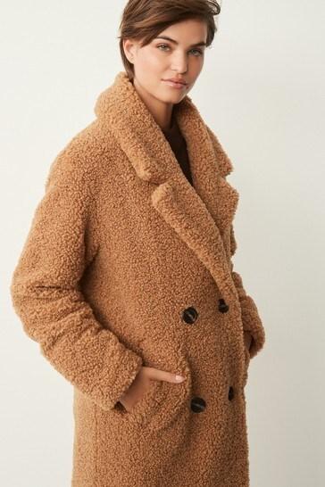 Camel Longline Teddy Borg Coat