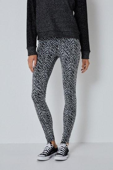 High Waist Grey Jacquard Full Length Leggings