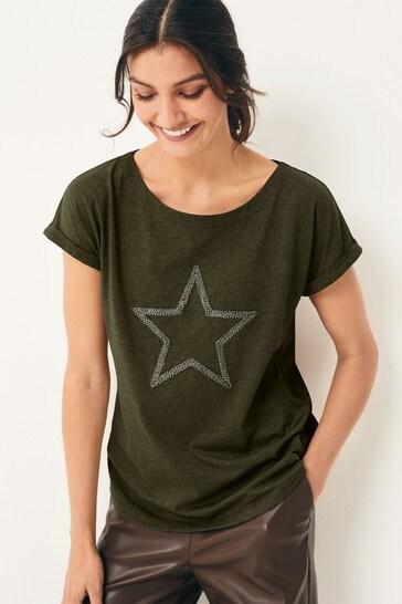 Khaki Beaded Star Curved Hem T-Shirt