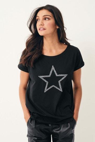 Black Beaded Star Curved Hem T-Shirt