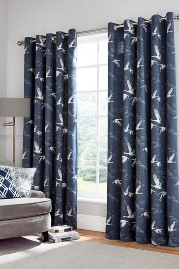 Midnight Blue Animalia Eyelet Curtains
