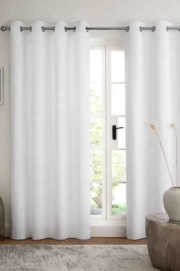 White Cotton Eyelet Lined Curtains