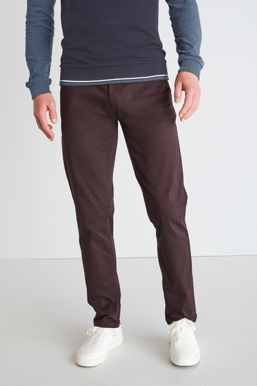 Deep Burgundy Purple Straight Fit Stretch Chino Trousers