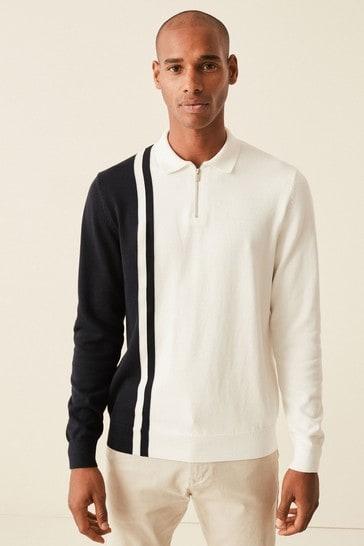 White Large Check Zip Premium Polo