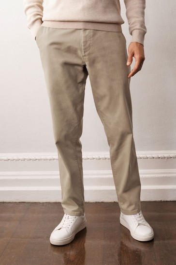 Stone Straight Fit Stretch Chino Trousers