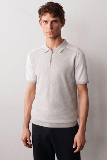 Grey Overarm Stripe Large Check Zip Premium Polo