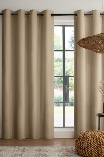 Gold Cotton Eyelet Blackout/Thermal Curtains