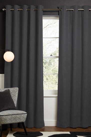 Charcoal Grey Cotton Eyelet Blackout/Thermal Curtains