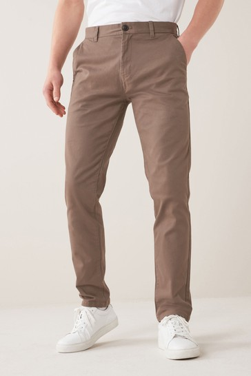 Brown Slim Fit Stretch Chino Trousers