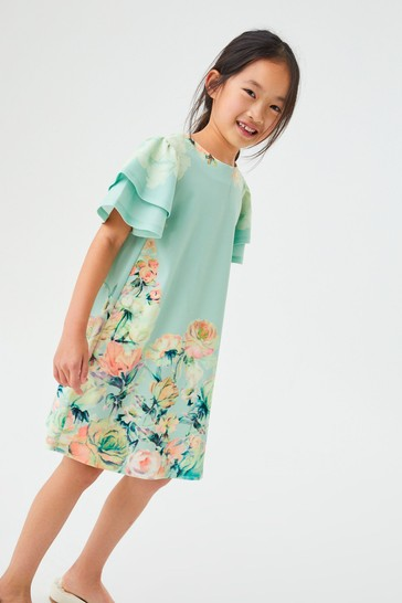 Green Floral Occasion Dress (3-16yrs)