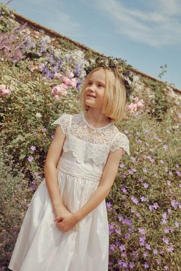 Ivory Lace Bodice Occasion Dress (3-16yrs)