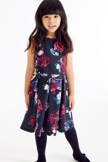 Black/Pink Floral Occasion Dress (3-16yrs)