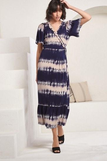 Navy Tie Dye Short Sleeve Wrap Dress