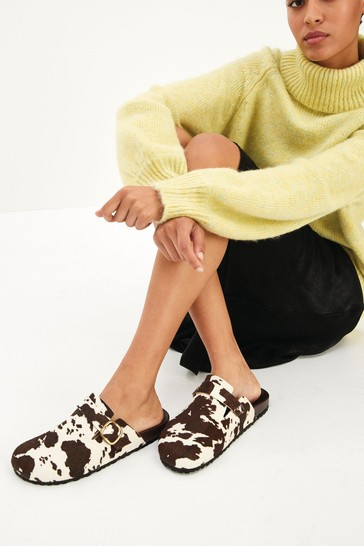 Cow Print Forever Comfort® Closed Toe Footbed Mules