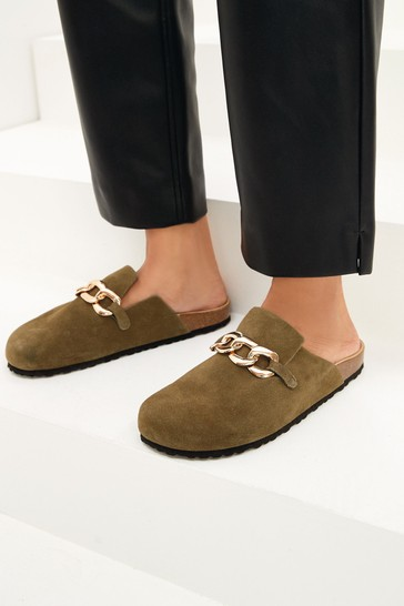 Khaki Suede With Chain Forever Comfort® Closed Toe Footbed Mules