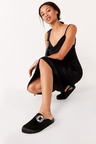 Black Satin Forever Comfort® Closed Toe Footbed Mules