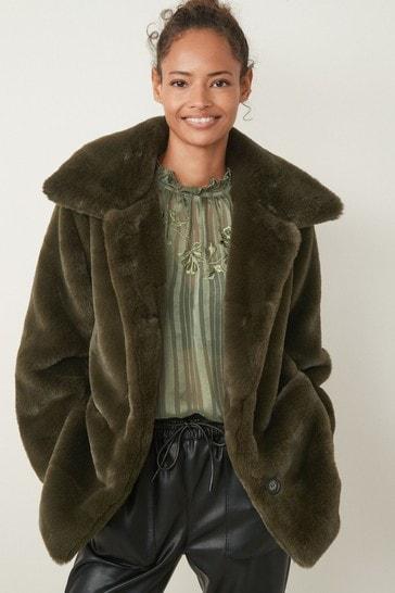 Khaki Green Faux Fur Pea Coat