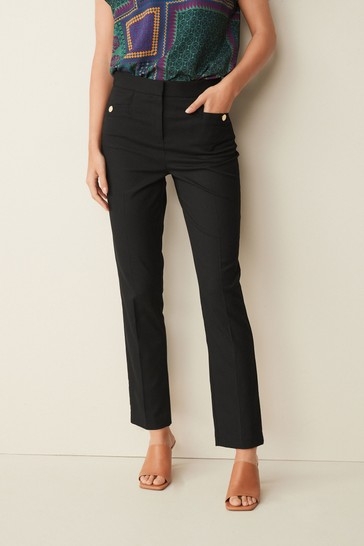 Black Texture Tailored Slim Trousers