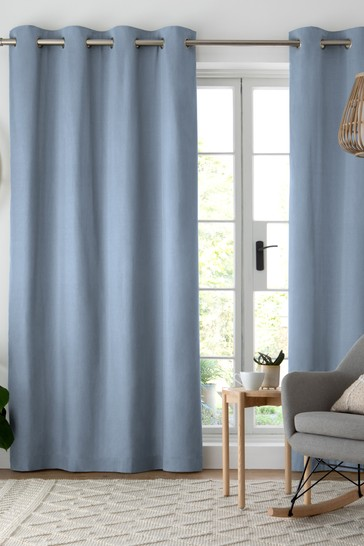 Blue Cotton Eyelet Blackout/Thermal Curtains