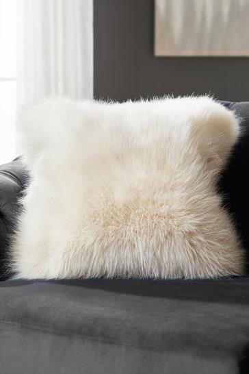 Cream Arctic Cosy Faux Fur Square Cushion