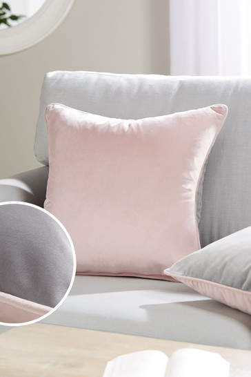 Pink And Grey Mila Twin Velvet Square Cushion