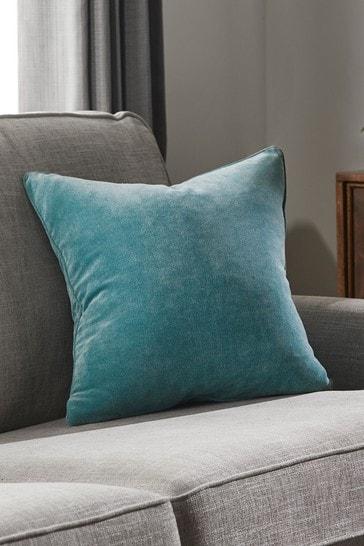 Teal Blue Soft Velour Rectangle Cushion