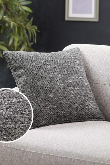 Charcoal Grey Ashton Chunky Chenille Square Texture Cushion