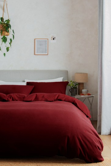 Red 100% Cotton Supersoft Brushed Duvet Cover and Pillowcase Set