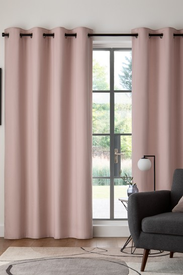Dusky Pink Cotton Eyelet Blackout/Thermal Curtains