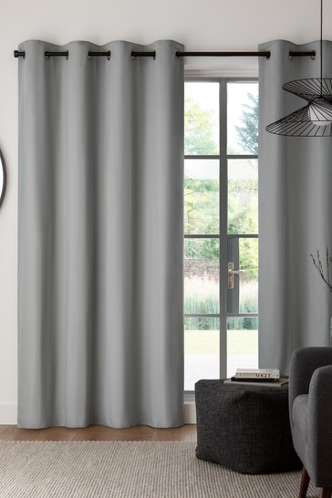 Silver Cotton Eyelet Blackout/Thermal Curtains