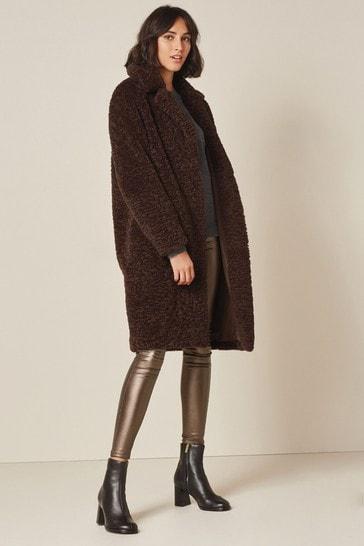 Chocolate Brown Longline Borg Teddy Coat
