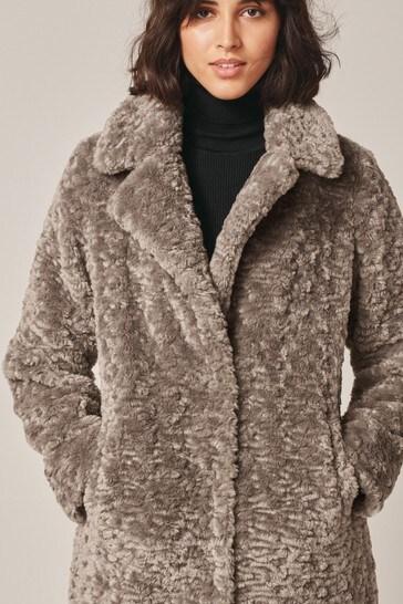 Mink Longline Borg Teddy Coat