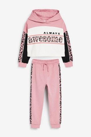Pink/Black Animal Slogan Hoody And Jogger Set (3-16yrs)