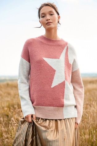 Pink Colourblock Star Jumper