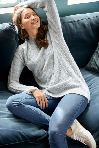 Grey Sparkle Cable Tunic