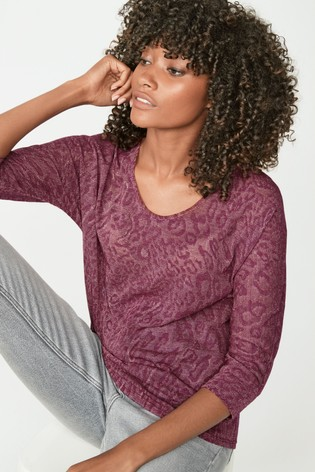 Berry Knit-Look Animal Top
