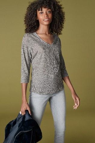 Grey Knit-Look Animal Top
