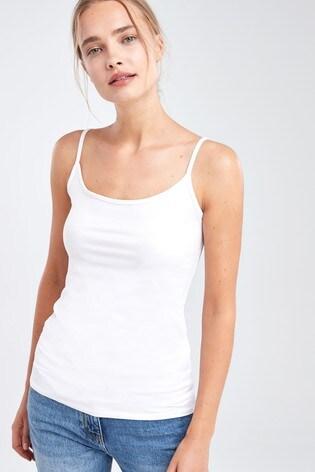 White Thin Strap Vest