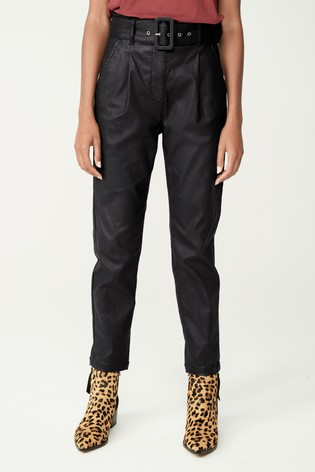 Black Coated Belted Tapered Trousers